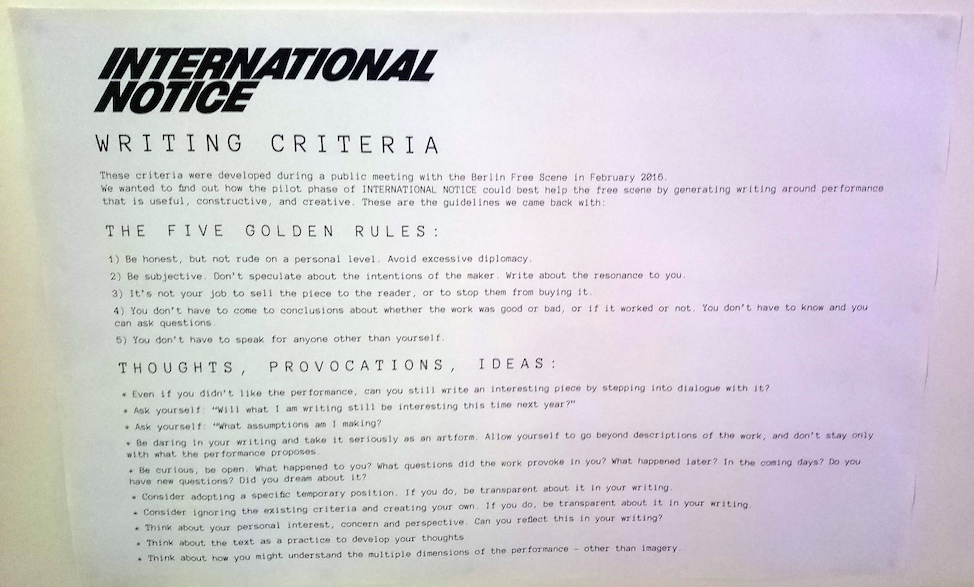 International Notice | Writing rules