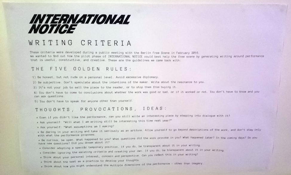 International Notice | Writing rules