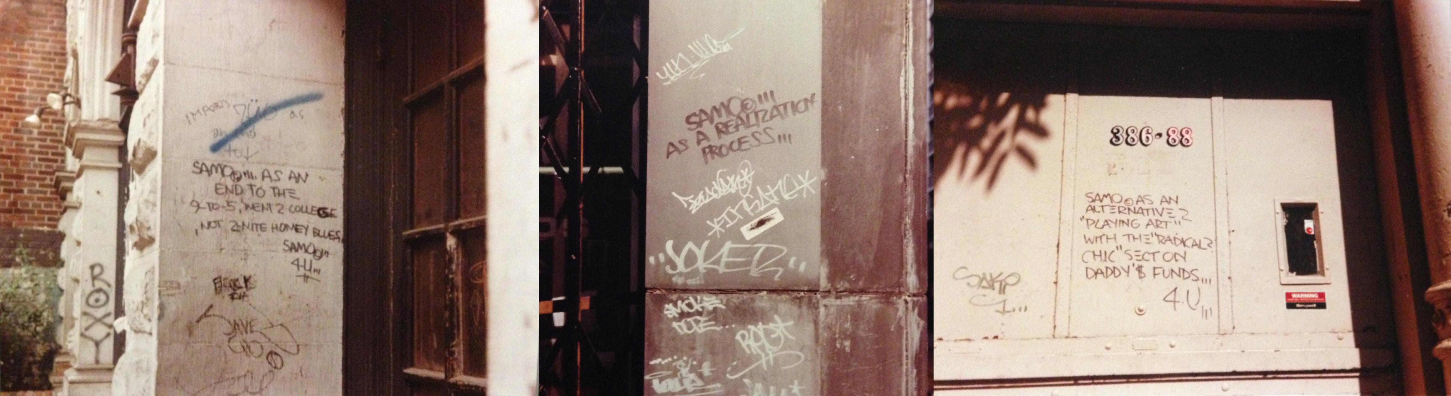 Collage aus drei Graffitis von SAMO©.